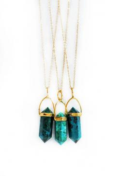 CHRYSOCOLLA point necklace small by keijewelry on Etsy, $54.00. These are fuckin sick!: Crystal Necklace, Chrysocolla Point, Kei Jewelry, Stone Necklace
