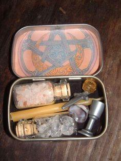 Confessions of Crafty Witches  How to make Altoid Tin Traveling Altars  http://recycledawblog.blogspot.com/2012/12/how-to-make-altoid-tin-traveling-altars.html    this is more of a Guide to show you how to make them  and Examples of them to inspire you to
