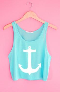 Cute Anchor Crop Tank Top. Definitely wearing this with a singlet underneath though!: Anchors, Freshtops Crop Tops, Fashion Tank Tops, Croptops ️, Freshtops ️, Crop Tank, Freshtops 3, Cute Croptops, Shorts Croptops