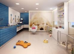 Cute grooming room. I like the mural and the dog pens, though they definitely wouldn't hold a newfie.: Dog Daycare, Small Dogs, Dog Grooming Salon, Dog Grooming Room, Dog Crates, Dogs Alot, Dog Rooms, Guardian Dogs