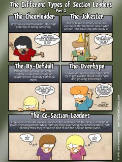 Different Types of Section Leaders Part 2- Marching Band Humor xD #Tone Deaf Comics: Band Music, Band Camp, Band Things, Band Stuff, Marching Band, Band Life, Band Problems, Band Nerds, Band Geeks