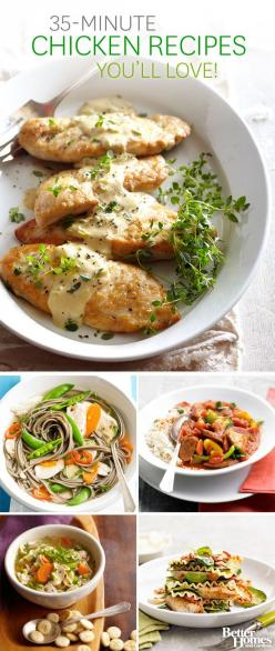 Don't worry about dinner tonight! We can help with these quick and easy chicken reicpes for the whole family: http://www.bhg.com/recipes/chicken/30-minutes-less/quick-easy-chicken-dinner-recipes/?socsrc=bhgpin100413quickeasychickenrecipes: Quick Easy