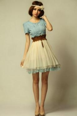 Dream feeling Vintage  Dress: Outfits, Denim Dresses, Fashion, Skirts, Style, Vintage Dresses, Clothes, Vintage Outfit, Vintage Denim
