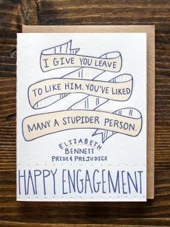 :Engagement: This is THE BEST!: Congratulations Card, Gift, Wedding, Letter Press, Jane Austen, 9Th Letter, Engagement Cards, Elizabeth Bennett