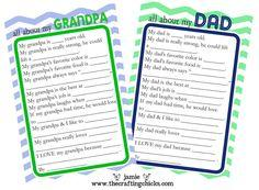 FREE printable questionnaire your kids can fill out for Daddy or Grandpa for Father's Day!
