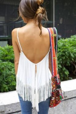 fringy.....anticipating CAbi New Day Collection to be released in April!: Fashion, Street Style, Spring Summer, Outfit, Open Backs, Fringe Tank, Fringe Tops