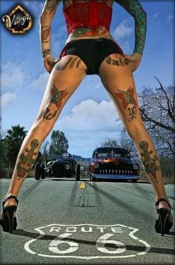 Girls and Hot Rods and Rat Rods! | repinned by www.BlickeDeeler.de | Follow us on www.facebook.com/blickedeeler: Girls, Tattoos, Cars, Hotrod, Route 66, Pinup, Pin Up, Ink