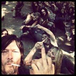 Giving us the middle finger. | 36 Photos Of Norman Reedus That Will Give You A Zombie Boner: Thewalkingdead, Norman Reedus, Daryl Dixon, The Walking Dead, Normanreedus, Daryldixon, Twd, Zombies