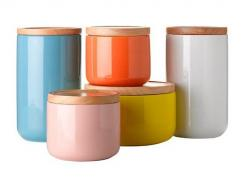 Gorgeous ceramic canisters.: Kitchens, Kitchen Canisters, General Eclectic, Colorful Canisters, Ceramics, Leeann Yare, Eclectic Canisters