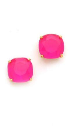 hot pink studs: Colored Studs, Hot Pink Earrings, Hot Pink Stuff, Pink Stud, Hot Pink Color, Earings Studs, Gold Studs, Haberdashion Fashiondna