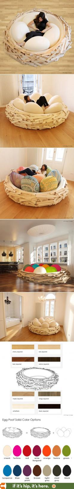 How awesome is this? The Giant Birdsnest, now available in various sizes and wood finishes.: Comfy Chair, Comfy Bed, Giant Beanbag