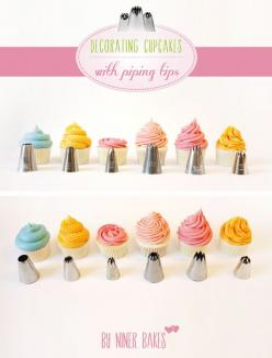 How to Frost Cupcakes with Piping Tips: Icing Tip, Sweet, Piping Techniques, Cup Cake, Cake Decorating, Decorating Tips