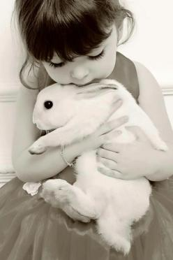 I have a photo of my son this age with his rabbit. Same pose. This is cute..: Picture, Girl, Sweet, Bunny Hugs, Baby, Bunnies, Friend, White Rabbit, Animal