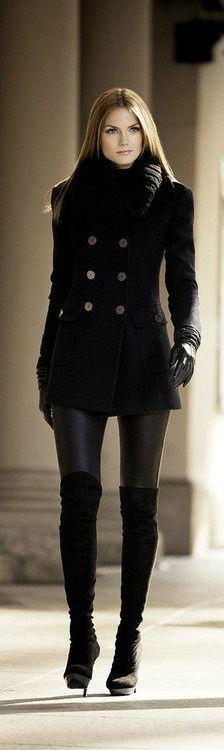 I love the boots: All Black, Street Style, Black Outfit, Winter Outfit, Winter Fashion, Fall Winter