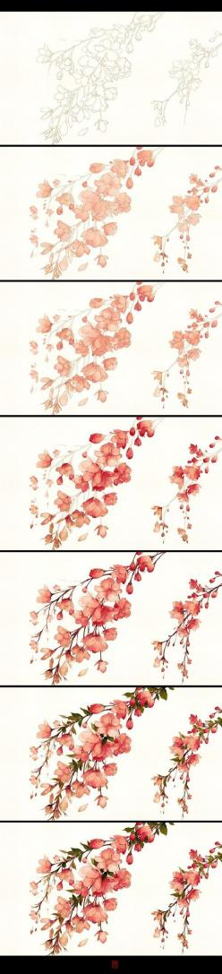 I love the building of the colors, how deep and delicate the flowers look.: Art Watercolor, Water Colour, Water Color, Watercolor Flower, Watercolour Flower