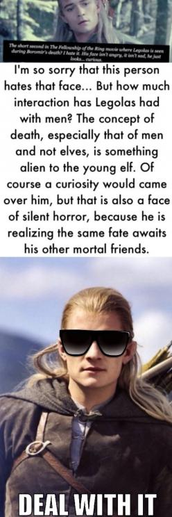 I think his face here looks so so sad, because as this other person pointed out, he is not much accustomed to dealing with death, and it grieves him.: Close Friends, 509 1 526 Pixels, So True, Legolas Rules, Hobbit Lotr, Boromir S Death, Hobbit Lord, Lotr