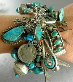 I want to be one of those old ladies who clanks from all her jewelry when she walks in a room.  Can't wait.: Turquoise Charms, Charm Bracelets, Style, Turquoise Jewelry, Vintage Turquoise, Silver Charms, Turquoise Bracelet