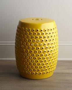 I want to build a small collection of ceramic garden stools for the new house.  Love the color, texture and price of this one. Yellow Pierced Ceramic Stool - Neiman Marcus: Garden Stools, Color, Horchow, Yellow Pierced, Ceramics, Photo, Room