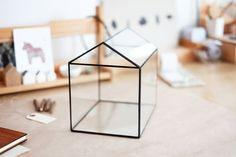 large glass house with a hinged roof by boxwoodtree on Etsy, $110.00