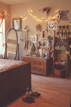 Laura of Roots and Feathers Boho Bedroom. I like how she uses the hat wrack for her bracelets.: Decorating Idea, Warm Bedroom Idea, Dream Room, Hippie Bedroom Idea, Boho Bedroom Idea