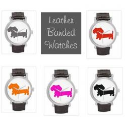 Leather Band Watch | Dachshund Silhouette – The Smoothe Store: Animal Things, Emily Stuff, Gorgeous Jewelry, Dachshund Gifts, Things, Dachshund Goodies