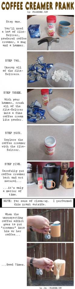 Lol. Even funnier because they're still half asleep. I'd freak out! Awesome.: Aprilfools, Fools Prank, Coffee Creamer, Office Prank, Creamer Prank, Coffee Prank, Funny Pranks, April Fools