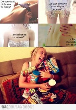 Lolll... I honestly don't want to be as skinny as the girls pictured.. and I would gladly be a little meaty and enjoy some pizza once in a while.: Girl, Stuff, Food, My Life, Funny, Humor, Funnies, Things