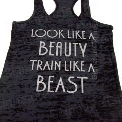 Look Like A BEAUTY train like a BEAST Womens Workout Tank top Racerback Burnout clothing fitness gym Black on Etsy, $22.95: Woman Workout, Burnout Clothing, Clothing Fitness, Workout Tank Tops, Beast Womens, Womens Workout, Workout Tanks
