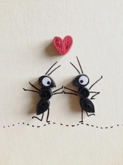 Love Card, Red Heart and Black Ants in Love, Quilling Art, Insects, Blank Card, Paper Goods, Red White and Black on Etsy, 4,50 €: Craft, Black Ants, Blank Card, Valentine Cards, Quilling Art, Paper Goods, Quilling Idea, Greeting Card, Red Hearts