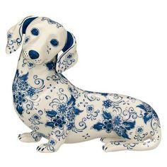 Love, love, love!  porcelain Dachshund sculpture decorated in the classic Blue Delft style.
