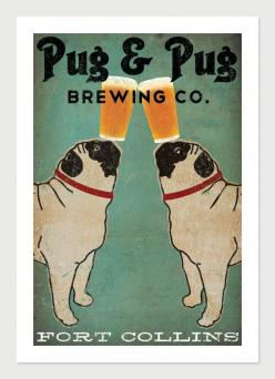 Made to Order -- Pug & Pug Brewing Co. Beer  ILLUSTRATION Giclee Print 12x18  inches signed. $49.00, via Etsy.: Pug Pug, Order Pug, Pug Art, Pug Life, Pug Brewing, Black Pug, Dogs Pugs