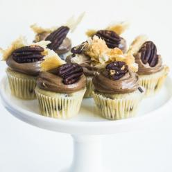 Mini Chocolate Pecan Pie Cupcakes. Please also visit www.JustForYouPropheticArt.com for colorful, inspirational art and stories. Thank you so much!: Pecan Pie Cupcakes, Chocolate Pecan Pies, Mini Chocolate