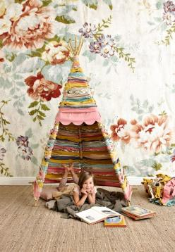 Mokkasin: DIY.. I'll for sure get the coolest mom award with this one. Love the textures and colors together!: Idea, Craft, Kids Room, Tent, Teepees, Fabric Strip, Diy