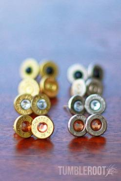 Move over diamonds, bullets are a girl's new best friend. These super cute earrings are handmade from real fired bullets, adding the perfect amount of bad-ass to whatever you pair them with. // tumbleroot.com: Studs, Girls, Bullet Stud Earrings, Best