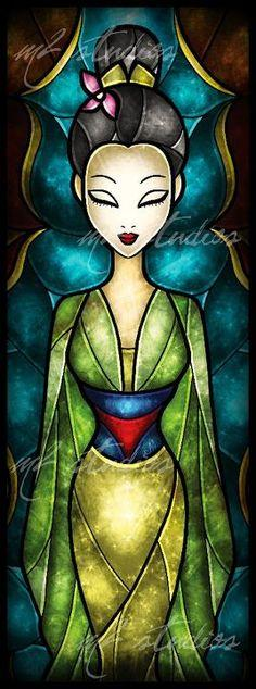 Mulan stained glass art