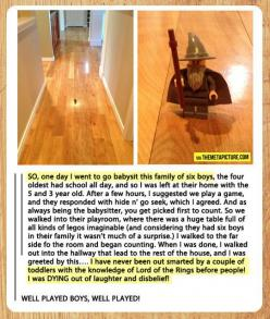My friend is social media famous! She posted this originally! Funny Gandalf babysitting prank. @Nancy Macedone Johnson: Well Played, Gandalf Funny, Babysitting Funny, Lotr Funny, Lotr Hobbit, Athena Kids, Lord Of The Rings