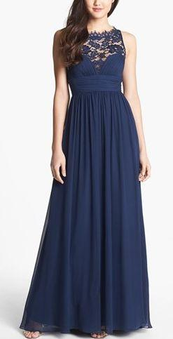 Navy blue chiffon dress. SO pretty! http://rstyle.me/n/n6rfan2bn: Silk Chiffon, Bridesmaid Dresses, Aidan Mattox, Gowns, Chiffon Gown, Mattox Embellished, Lace Silk
