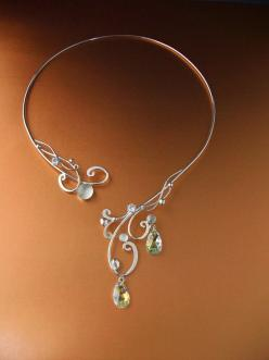 Necklace | ElnaraNiall.  Sterling Silver and accented with white Moonstones, clear cubic zirconia and Swarovski crystal tear-drops: Wire Jewelry, Jewelry Making, Moonlight Torc, Wirework, Celtic Magic, Torc Necklace
