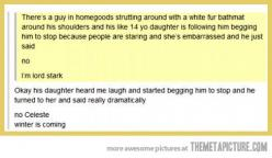 Oh my god XD I wish my dad was this awesome: Geek Parents, Lord Stark, Winter Is Coming, Parenting Done Right, Bahahaha Xd, Parenting Win, Dad Parenting, Thrones Parenting