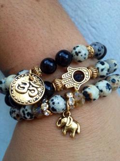 OM Elephant & HAMSA Bracelet Set by GrizzyLove on Etsy, $48.00 Seriously in love: Bracelet Set, Love Bracelet, Elephant Bracelet, Yoga Bracelet