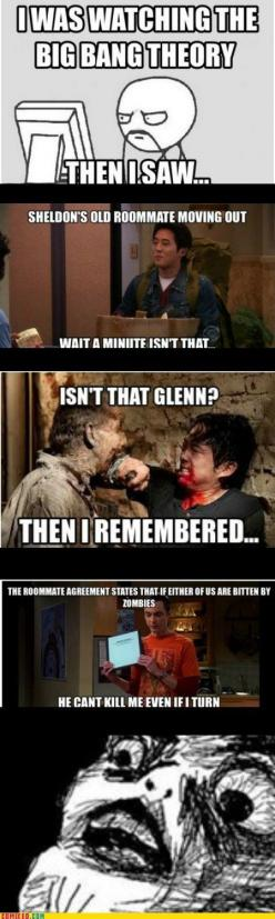OMG BIG BANG THEORY AND THE WALKING DEAD COMBINED OH MY LAWDIE: Thewalkingdead, Mind Blown, Bigbangtheory, Zombie, The Walking Dead, Big Bang Theory, It S Glenn, Roommate, Bangs