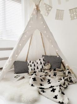 patterns, textures + lantern lights - all the essentials for a teepee.: Baby Bedroom, Dream Room, Kidsroom, Tent, Teepees, White Teepee, Kids Rooms