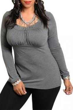 Plus Size Sexy Long Sleeve Knit Top I like this but I dont see how she's plus size: Ruched Scoop, Grey Top, Long Sleeve Tops, Scoop Neck, Knit Tops, Plus Size Style, Plus Size Top, Charcoal Ruched
