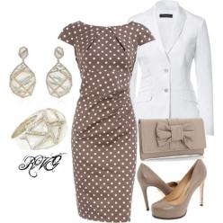 Polka dot so classic with the jacket it appears to be a suit for the office..for evening pull the jacket off form fitting dress..Jazz up the jewelry and put on some canary yellow stilletos and you are ready: Fashion, Pretty Woman, Polka Dots, White Blazer