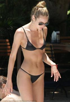 Poolside: Victoria's Secret model Candice Swanepoel showed off the body that has made her fortune in a tiny black bikini on Saturday: Body, Inspiration, Candice Swanepoel, Fitness, Bikinis, Motivation, Candiceswanepoel, Summer