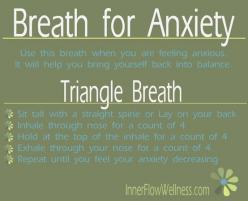 pranayama for anxiety | breath & anxiety | yoga & anxiety: Anxiety Breathing, Breathing Technique, Mental Health, De Stress, Stress Relief, Anxiety Panic, Stress Anxiety, Triangle Breath, Panic Attacks