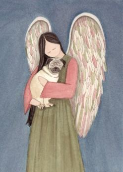 Pug dog cradled by angel / Lynch signed folk art print. $12.99, via Etsy.: Artist Cindi, Angel Pug, Folk Art Angels, Art Prints, Angel Dogs, Sweet Pugs, Pug Dogs, Art Cindi Lynch, Pug Stuff