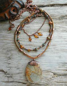 Red Creek Jasper Stone Pendant Autumn Colors Sage Green and Amber with Antiqued Copper and Buckskin Leather Earth Tones
