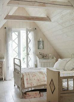 Seriously beautiful, and I have always wanted a window, in my room.. Never happening! My room is in a basement... :(: Attic Bedrooms, Shabby Chic, Dream, Attic Room, Cottage Style, Country Cottage, White Bedroom, Bedroom Ideas