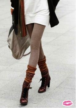 Short boots w/ knee high socks over leggings - <3 this look all winter #style: Style, Color, Outfit, Fall Fashion, Fall Winter, Boot Socks, Boots, Leg Warmers